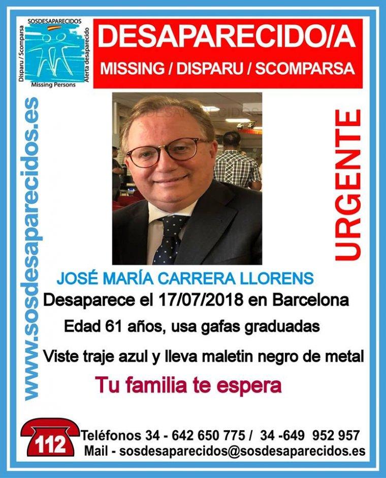 José María Carrera Llorens va desparèixer a Barcelona el passat 17 de juliol