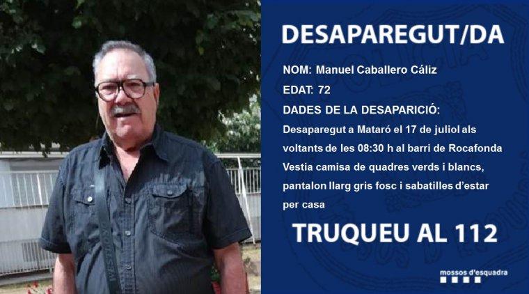 Manuel Caballero Cáliz, en una imatge difosa pels Mossos d'Esquadra