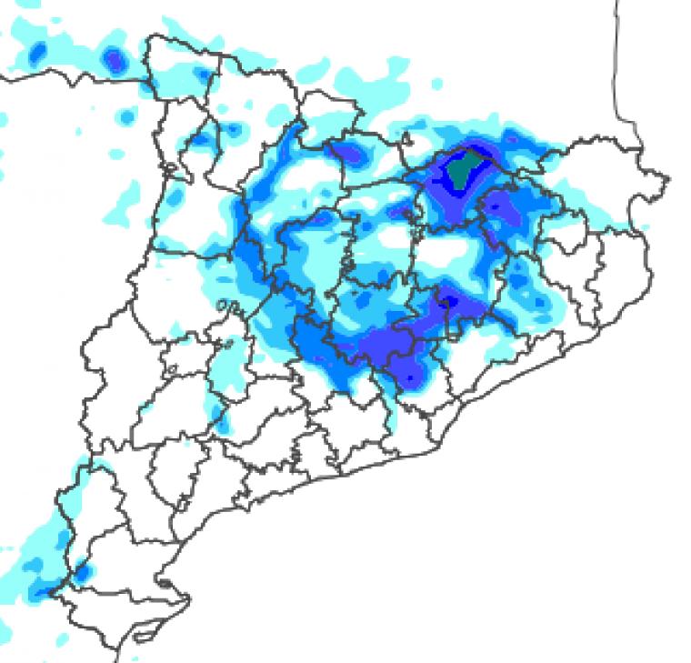 Mapa de precipitació prevista a mitja tarda d'aquest dilluns