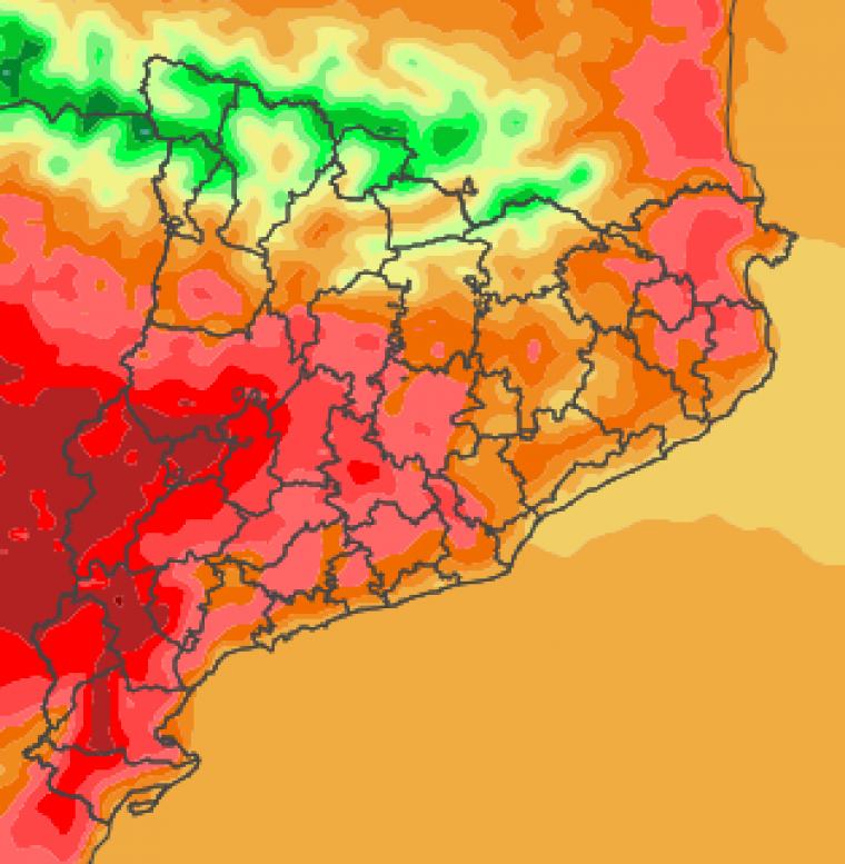Mapa de temperatures màximes molt altes previstes per aquest dilluns