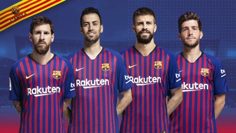 Imatge dels quatre capitans blaugranes