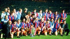 Els membres del 'Dream Team', celebrant la consecució de la Champions League