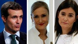 Imatge dels tres polítics implicats en els escàndols dels màsters