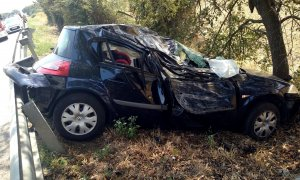 Imatge d'un accident a Llagostera, aquest passat cap de setmana.