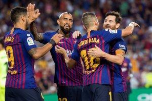 Els jugadors del Barça celebren un gol davant l'Athletic Club