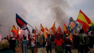 Imatge de la manifestació de Falange de l'any passat a Barcelona.