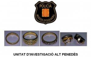 Imatge de les joies robades i intervingudes pels agents dels Mossos d'Esquadra