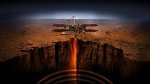 Imatge simulada de les tasques que durà a terme 'InSight' al subsòl de Mart