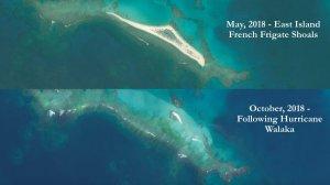 Imatges del abans i el després de l'illa desapareguda a Hawaii