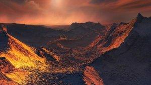 Recreación de una puesta de sol en el exoplaneta estrella Barnard b