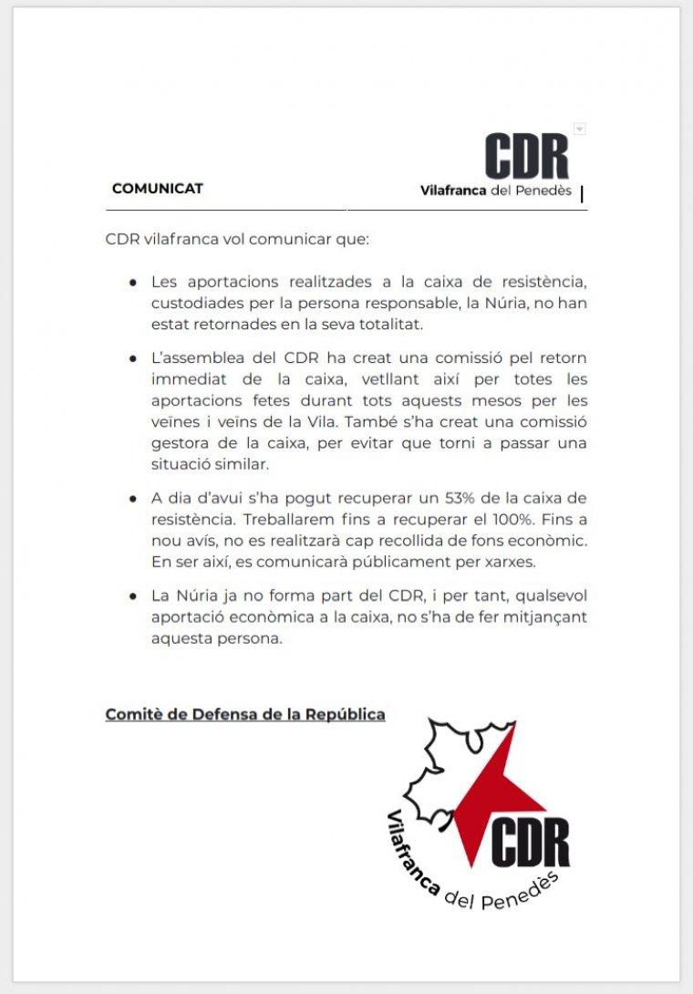 El comunicat a través del qual el CDR de Vilafranca informa de l'incident amb la «caixa de resistència»