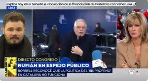 Rufián a 'Espejo Público', parlant sobre la figura del ministre Borrell