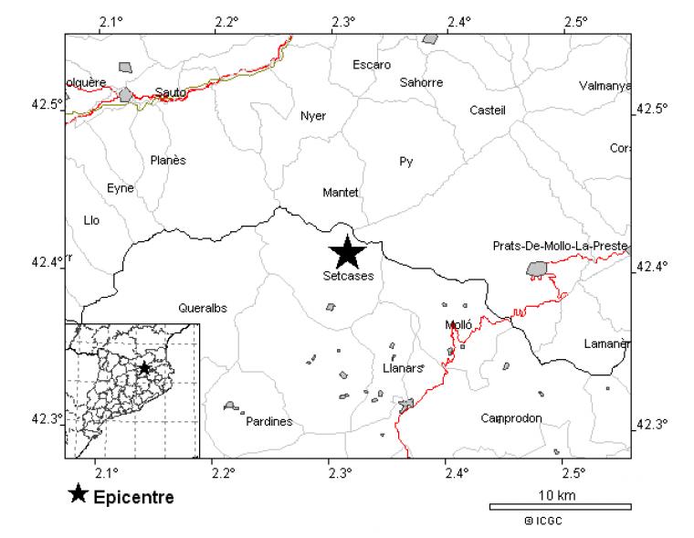 L'epicentre s'ha situat quasi a la frontera amb França