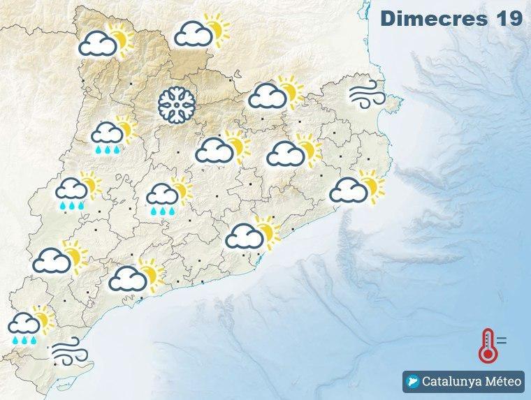 Mapa de la previsió per aquest dimecres, s'esperen els ruixats a primeres hores del matí