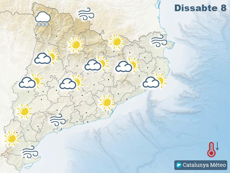 Mapa de la previsió per aquest dissabte
