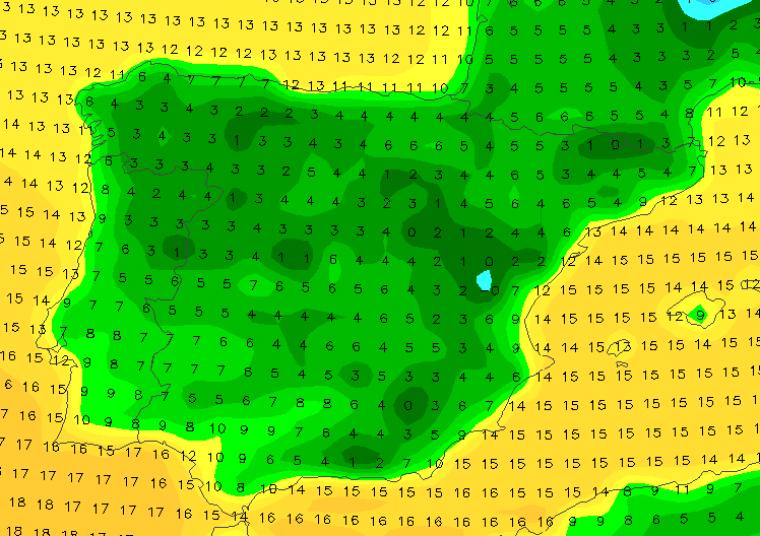 Mapa de temperatures previstes a l'hora de les campanades