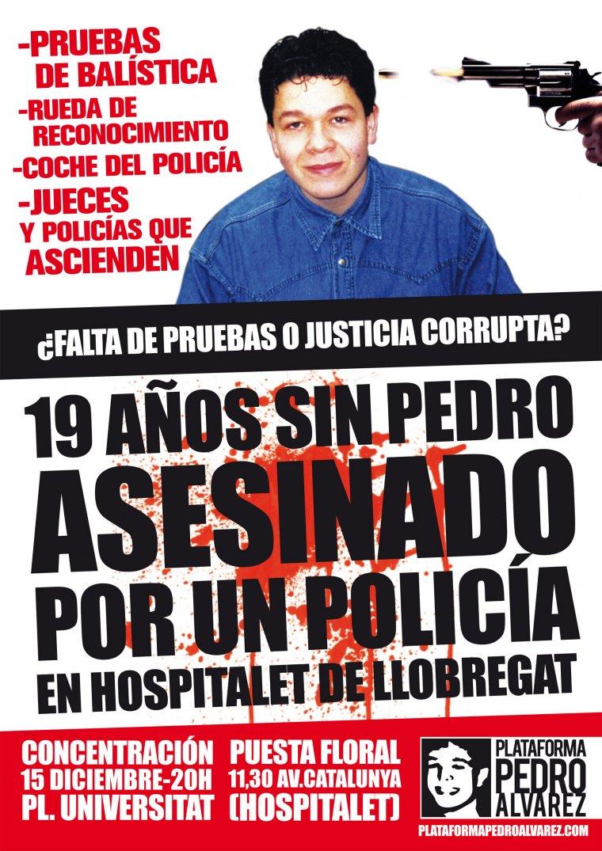 Pancarta que reclama justícia pel cas de l'assassinat de Pedro Álvarez