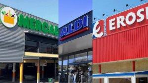 Fotomuntatge de les cadenes de supermercats Mercadona, Aldi i Eroski