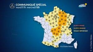 Mapa d'alertes per neu a França dimarts i dimecres