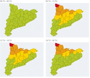 Mapa d'alertes per neu per aquest dimecres