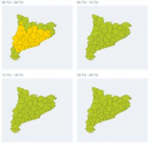 Mapa d'avisos per fred extrem la matinada de divendres