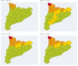 Mapa d'avisos per neu a Catalunya aquest dimecres