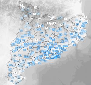 Mapa de precipitacions a Catalunya fins les 9 del matí d'aquest diumenge