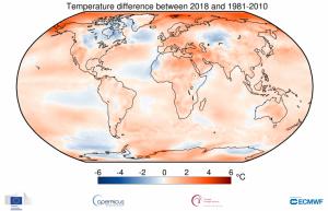Mapa global de la diferència de temperatures aquest 2018 respecte a la mitjana