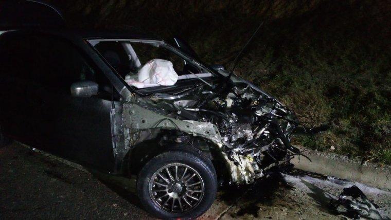 Així va quedar el vehicle just després de l'accident a La Segarra
