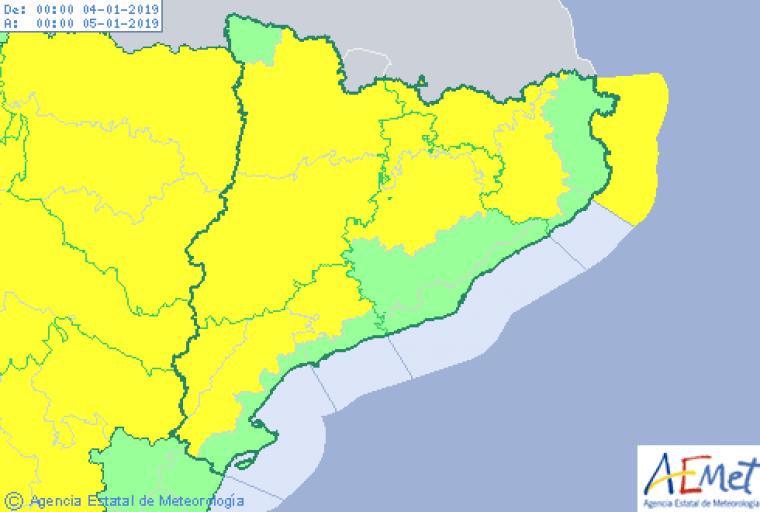 Mapa d'avisos per fred a Catalunya aquest divendres