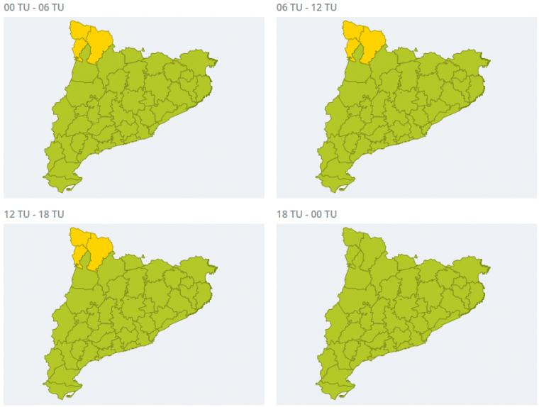 Mapa d'avisos per nevades a la cara nord del Pirineu aquest dimecres