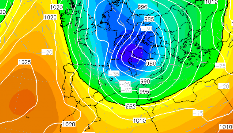 Mapa que indica l'aire molt fred arribant dimecres a Catalunya