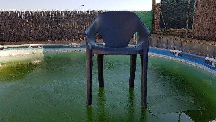 Piscina glaçada el matí de dijous a Palau-solità i Plegamans, al Vallès Occidental