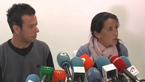 Els pares de Gabriel durant una roda de premsa