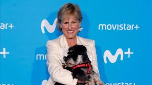 Mercedes Milá amb el seu gos Scott, a la presentació del programa