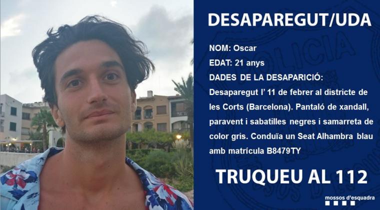 L'Oscar va desaparèixer el passat 11 de febrer a Barcelona