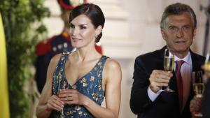 Imatge de la reina Letícia al sopar de gala argentí