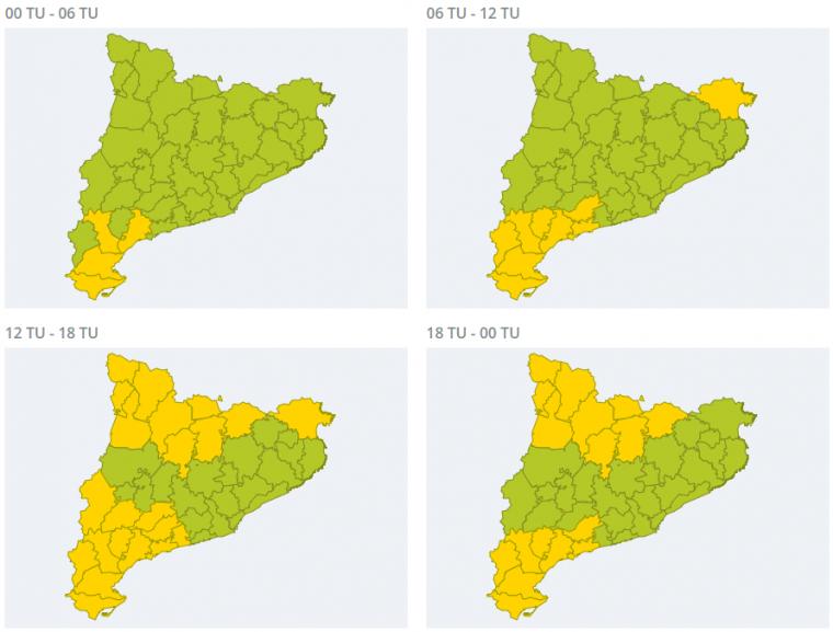 Mapa d'avisos per fort vent al Pirineu i a les comarques tarragonines