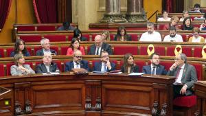 El president Quim Torra i part del seu Govern durant una sessió al Parlament de Catalunya