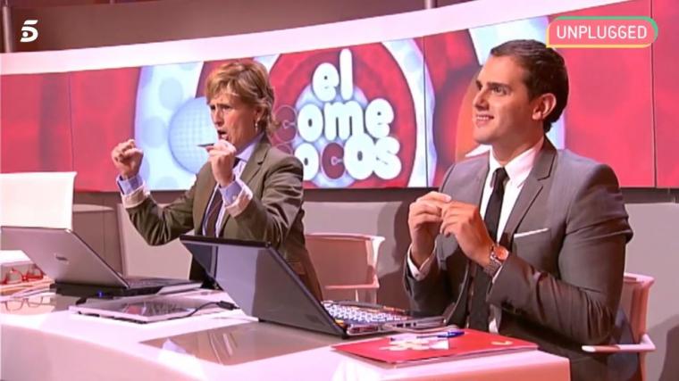 Albert Rivera i Merdeces Milà, jurat del concurs sobre política 'el comecocos' de Cuatro