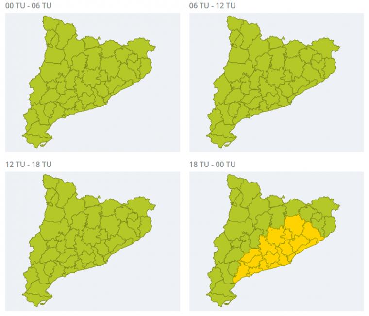 Mapa d'avisos per pluja forta divendres