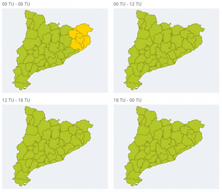 Mapa d'avisos per pluja per aquest dissabte