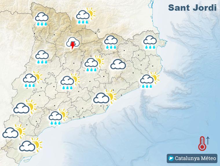 Mapa de la previsió per aquest dimarts de Sant Jordi