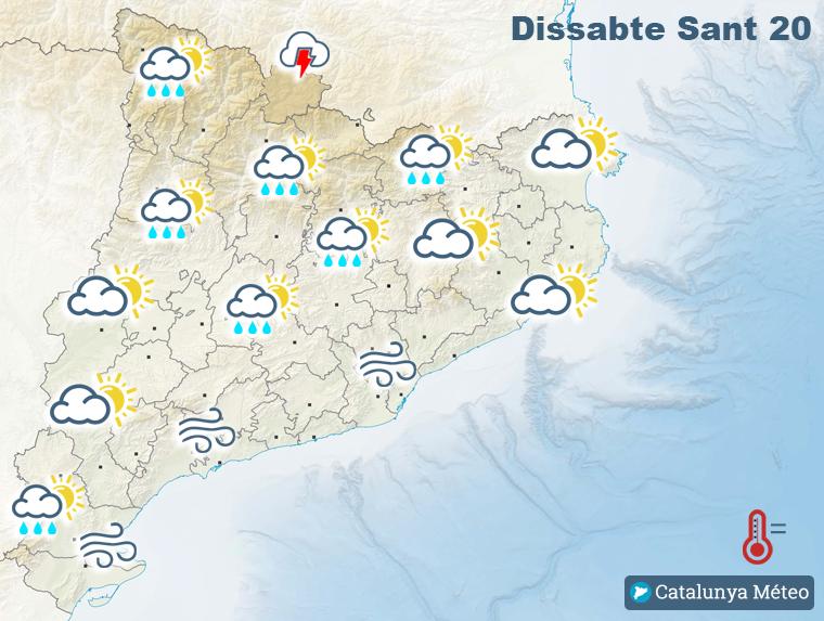 Mapa de la previsió per aquest dissabte a la tarda, el matí serà més assolellat