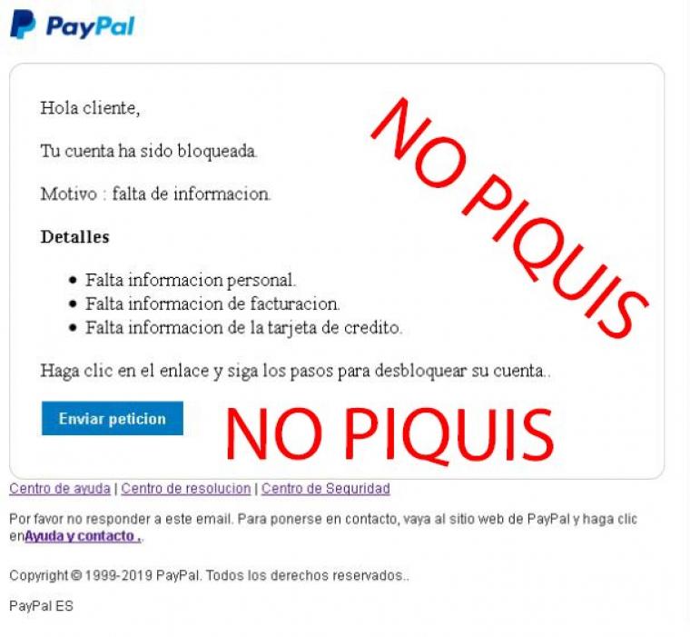 Alerta per una nova estafa on suplanten la identitat de Paypal