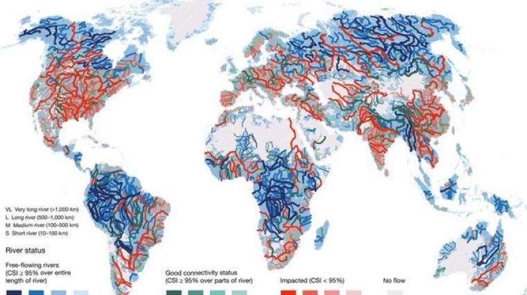Mapa balanç de l'estat natural dels rius més importants del món