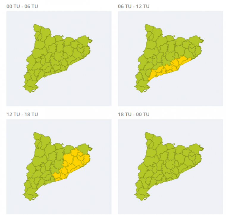 Mapa d'avisos per fortes pluges aquest divendres