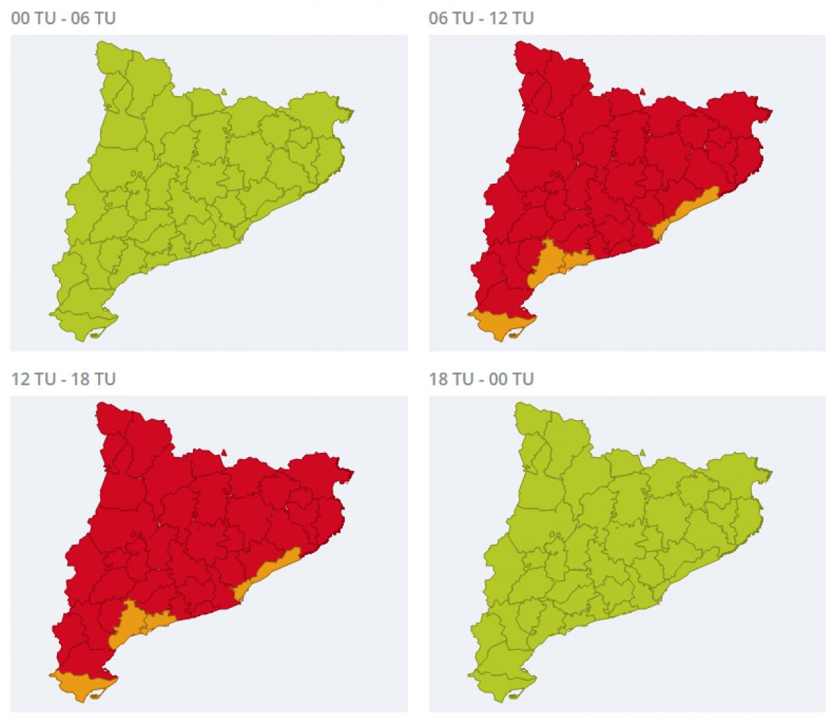 Mapa d'alertes per calor extrema a tot Catalunya aquest divendres