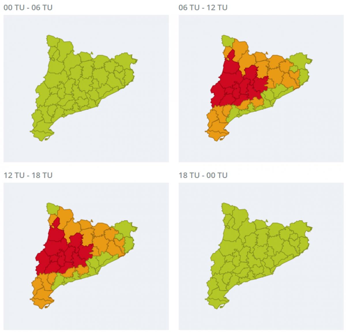 Mapa d'alerta per calor extrema aquest diumenge
