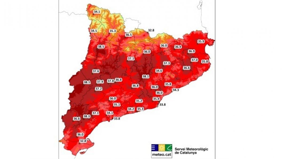 Mapa de les temperatures màximes previstes de cara al proper dimarts, 25 de juny